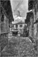 koprivshtitsa 2020.19 as sketch bw